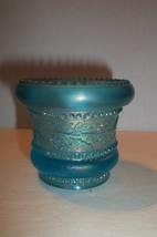 Vintage Blue Opalescent Carnival Glass Holly Band Toothpick Signed St Clair - $14.84