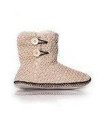 ICONOFLASH Women's Casual Oatmeal Knit Faux Fur Bootie Slippers with But... - $29.69