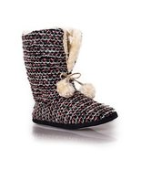 ICONOFLASH Women's Casual Hot Pink Faux Fur Striped Knit Slipper Bootie,... - $24.74