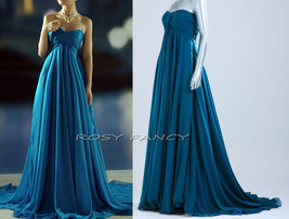 Rosyfancy Empire Waist Ruched Bodice And Full Skirt Chiffon Evening Gown EDS001 - $195.00