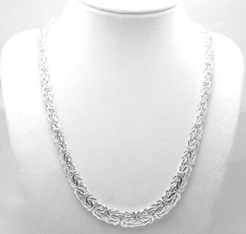 "Sterling Silver 18"" Graduated Byzantine Necklace Chain"