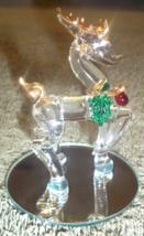 "SPUN GLASS CHRISTMAS REINDEER 3"" TALL WITH MIRROR BASE 2 3/8"" DIAM. - $15.00"