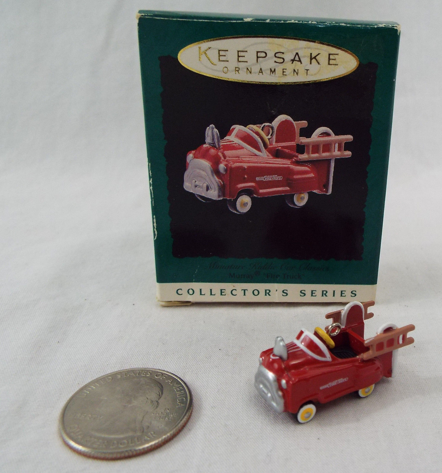 2  Kiddie Car Classics Hallmark Christmas Holiday Ornament Murray Fire Truck N0