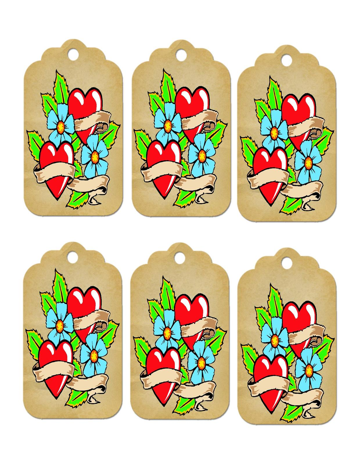 Brown heart tags1