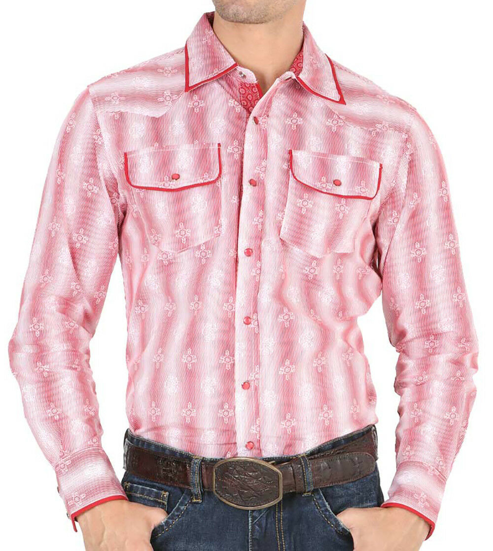 Primary image for Western Shirt Long Sleeve El General 100% Cotton Red
