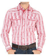 Western Shirt Long Sleeve El General 100% Cotton Red - $29.99