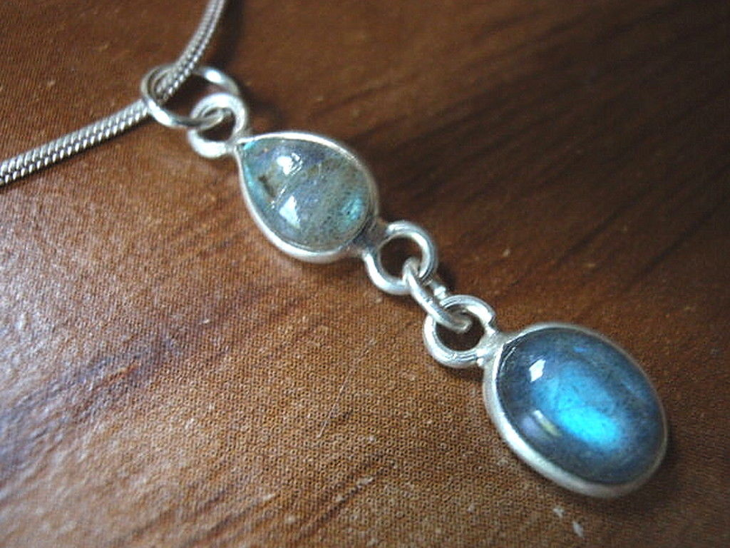 Primary image for Very Small Labradorite Teardrop & Oval Silver Necklace Corona Sun Jewelry