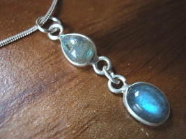Very Small Labradorite Teardrop & Oval Silver Necklace Corona Sun Jewelry - $19.46