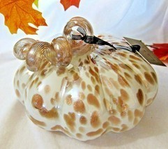 Nicole Miller Led Lighted Handblown Glass Pumpkin Cream Bronze Glittery ... - $37.04