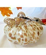 Nicole Miller Led Lighted Handblown Glass Pumpkin Cream Bronze Glittery ... - £26.92 GBP