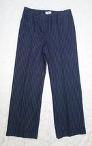 Ann Taylor LOFT Mid-Rise Navy Pinstripe Dress Pants Womens 4 Lined Linen... - $19.35