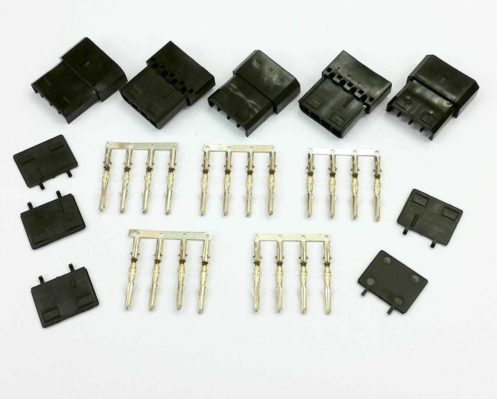 PK OF 5 - 4 PIN MOLEX PC PSU POWER CONNECTOR PASSTHRU MALE/FEMALE-BLACK INC PINS