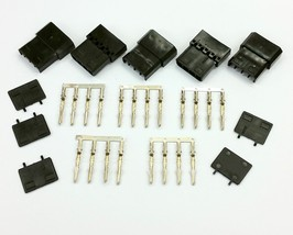 PK OF 5 - 4 PIN MOLEX PC PSU POWER CONNECTOR PASSTHRU MALE/FEMALE-BLACK ... - $6.80