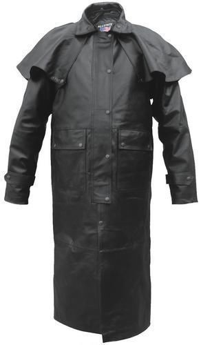 Mens Leather Western Motorcycle Duster Long Outback Trench Coat