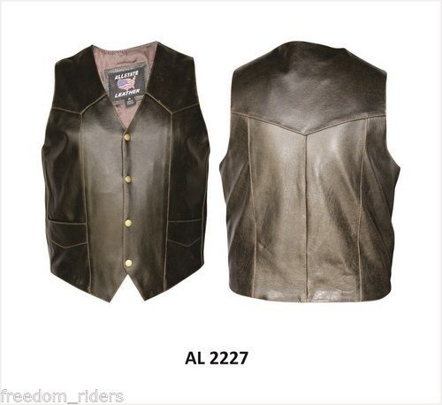 Mens Retro Brown Vest Buffalo Leather Allstate All Sizes 2XL