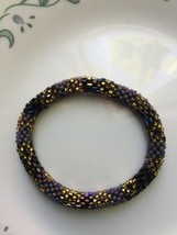 1 Set Nepal Rolls Glass Beaded bracelet crochet handmade bead bangle USA... - $3.95