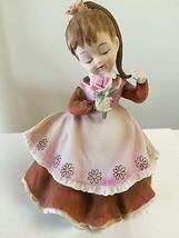 VINTAGE LEFTON GIRL HOLDING FLOWER BROWN PINK DRESS HANDPAINTED FIGURINE... - $5.88