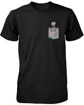 Skeleton with RIP Gravestone Pocket Print Men's Shirt Halloween Graphic Tee - $14.99+