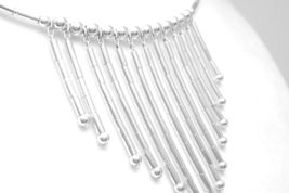 Southwestern Sterling Liquid Silver Fringe Necklace Memory Wire Choker - $69.00