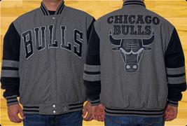 JH Design Chicago Bulls Two Tone Wool Reversible Jacket CHR Black - $108.95
