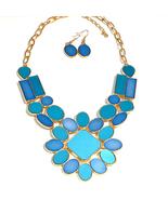 Blue Turquoise Goldtone Bezel Set Flat Cabochon... - $15.00
