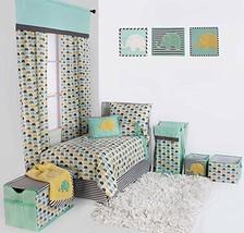 Bacati Elephants Unisex 4 Piece Toddler Bedding Set, Mint/Yellow/Grey