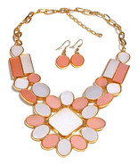 Pink White Goldtone Bezel Set Flat Cabochon Flower Medallion Necklace Set - $15.00