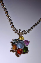 Rainbow Gemstones Sterling Silver Flower Pendant  Necklace ~ 7 Facets - $35.00