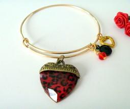 Red Animal Print Heart Charm Adjustable Bangle Bracelet - $9.99