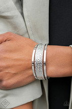 Paparazzi Jungle Jingle Silver Bracelet Air Cuff Hammered - $4.64