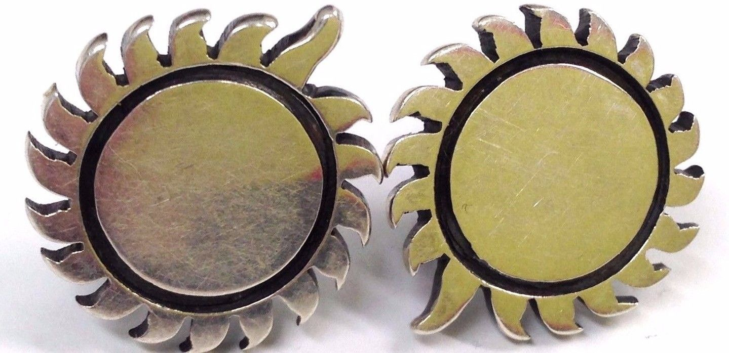 Primary image for Vintage Sterling Silver Sun MEXICO screw back Earrings
