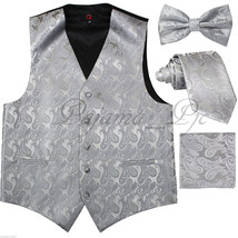 Silver Paisley Tuxedo Vest Waistcoat Butterfly Design Bowtie Neck Tie Hanky - $27.70+