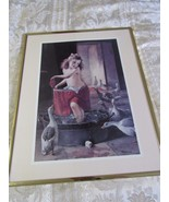 "Vintage Print Bathing Bath Girl with Geese 16"" x 20"" - $14.17"