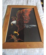 "Prison Art Velvet American Bald Eagle Picture Wood Frame Large 28"" by 38"" - $73.57"