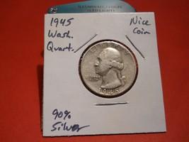 1945 Washington Silver Quarter!!!  Nice Coin!!! 90% Silver!!! - $6.05