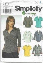 Simplicity 9411 Pattern Split Collar Shirt w/ 6 Variations Size 6 8 10 1... - $7.83