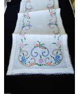 "VTG White Cotton linen Table runner Floral Embroidery crochet 14.5"" x 38.5"" - $44.55"