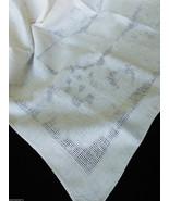VTG Ecru Color linen Tablecloth cotton linen blend   50x50 - $44.55