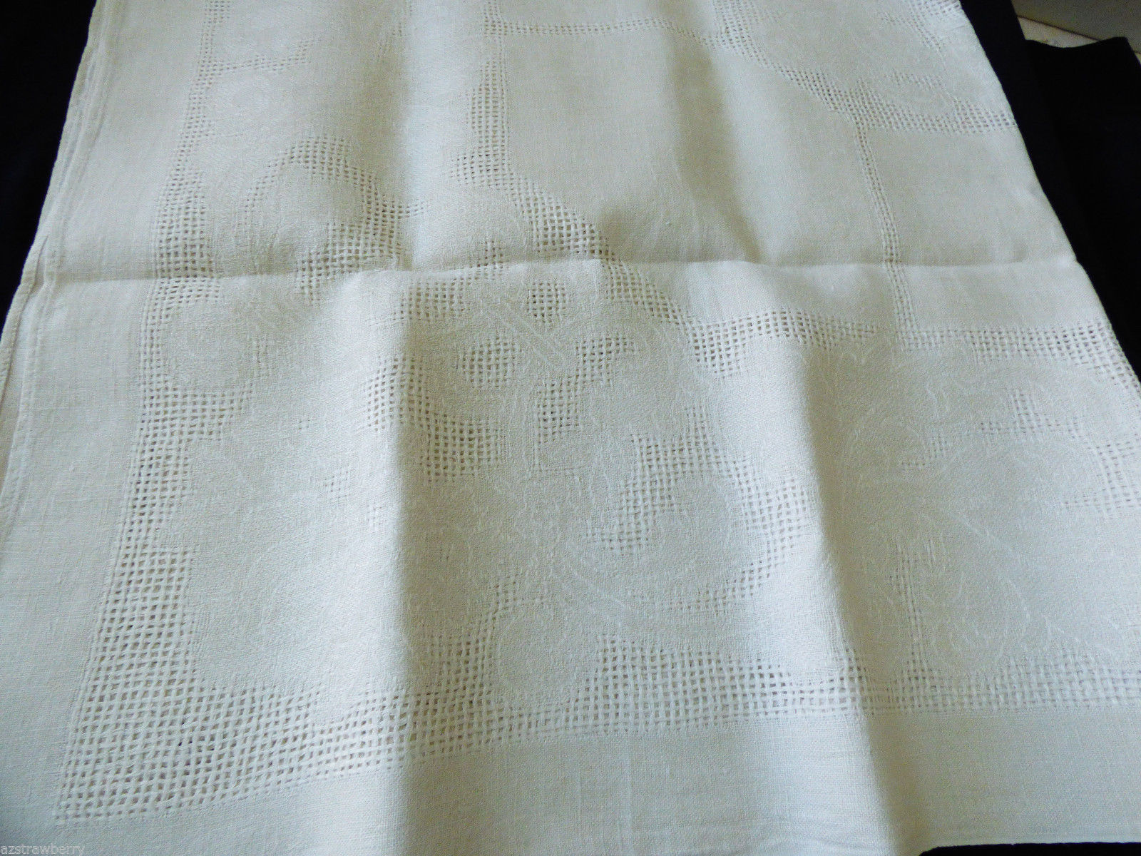 vtg ecru color linen tablecloth cotton linen blend 50x50