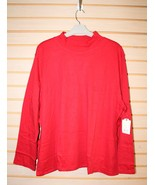 NEW ST.JOHN'S BAY WOMENS PLUS SIZE 5X CABARET RED LONGSLEEVE MOCK NECK S... - $11.18