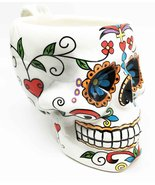 Ebros White Tribal Day of The Dead Crucifix Colorful Sugar Skull Drink C... - $22.76