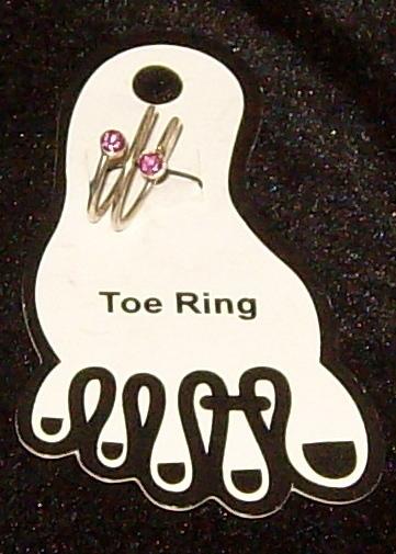 Pink Stone Silver tone Spiral Toe Ring New Bonanza