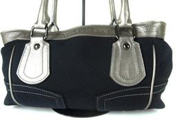 Auth BURBERRY LONDON BLUE LABEL Black Corduroy Silver Leather Shoulder Bag - $189.00