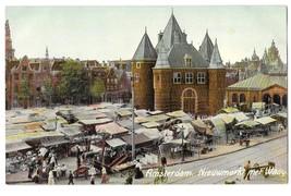 Netherlands Holland Amsterdam Nieuwmarkt met Waag Market Square Vintage ... - $4.99