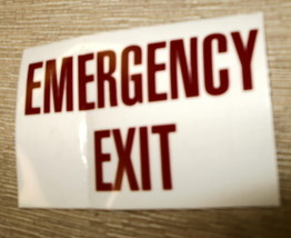 "RV Safety Decal ""EMERGENCY EXIT"" Size: 3 1/4"" x 2 1/8"" #GC0244 - $8.42"