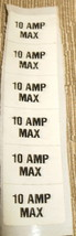 "RV Safety Decal ""10 AMP MAX Fuseholder Label""  Set 6 Size:  1"" X 1/2"" - $8.42"
