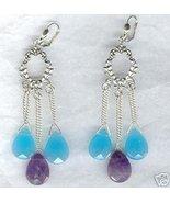 Chalcedony Amethyst Heart Briolette Chandelier Earrings - $15.99
