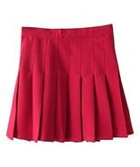 Women's High Waist Solid Pleated Mini Tennis Skirt (L, Wine red) - $24.74