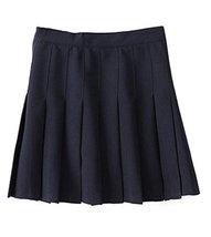 Beautifulfashionlife Women's High Waist Solid Pleated Mini Skirt(L, Dark blue) - $25.73
