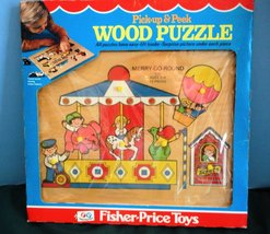Rare Vtg.. Fisher Price Pick Up 'N Peek #514 Merry Go Round Wood Puzzle ... - $36.99